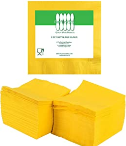 Perfectware - PW-2 Ply Yellow Bev-250 2 Ply Yellow Beverage Napkins- Pack of 250ct