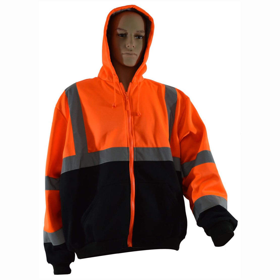 Petra Roc OBHSW-C3-L Thermal Lined Sweatshirt Hoodie Orange//Black Two Tone Zipper Closure 2 Slash Pockets ANSI 107-Class 3 L