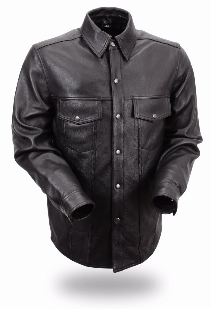 First Manufacturing Men's Lightweight Leather Shirt (Black, XXX-Large) by First Mfg Co (Image #1)