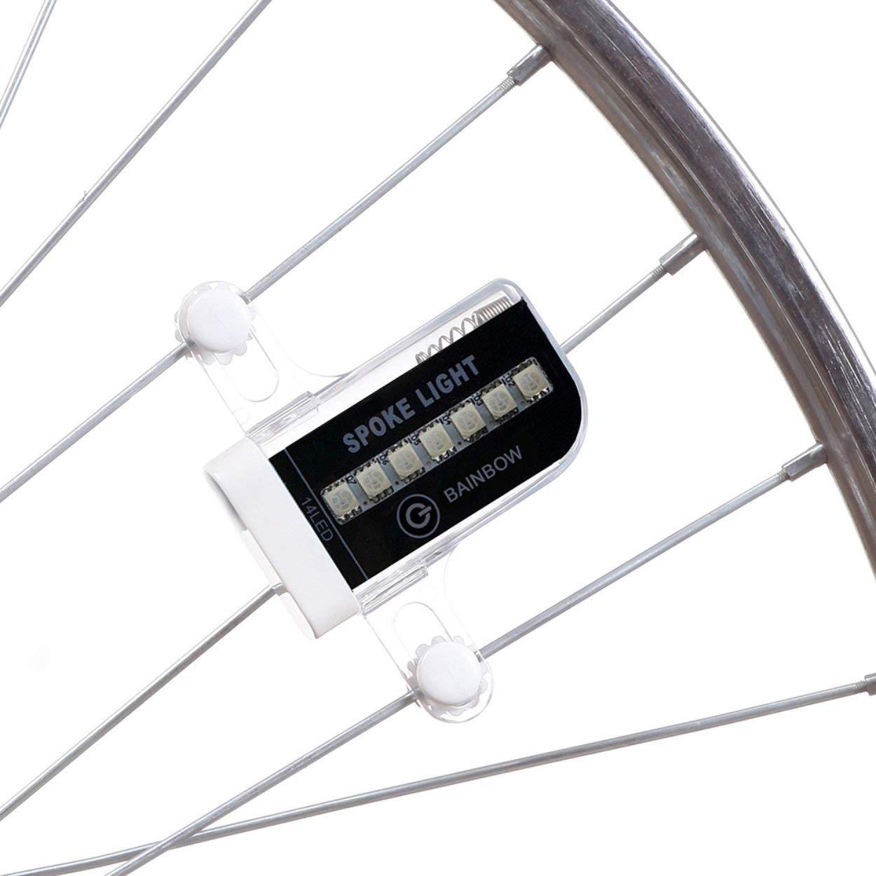 Lorenlli 14 LED 30 Patrones a Todo Color Colorido Spoke Light Ciclismo Mountain Bike Spoke Rueda de la l/ámpara de Carga Fit KX-071B Accesorios para Bicicletas