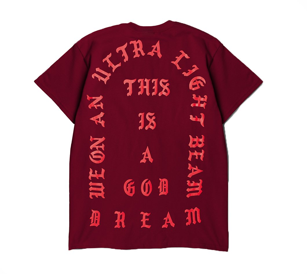 The Life of Pablo Tour Garnet RED I Feel Like Pablo Ultra Light Beam Short Sleeve Kanye West Yeezy TLOP Merch Yeezus (Extra Large)