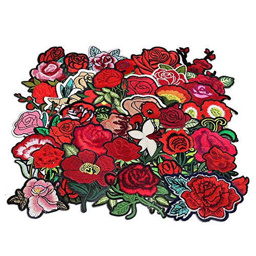 24pcs rose flower embroidered fabric Iron-on or Sew-on patch badges (Mixed colors Set (Sew Fabric Flowers)