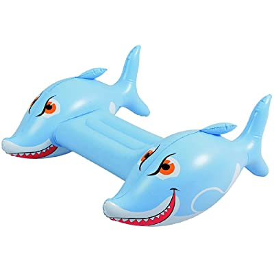 Inflatable White and Blue Shark Children's Swimming Pool Kickboard, 34-Inch: Toys & Games