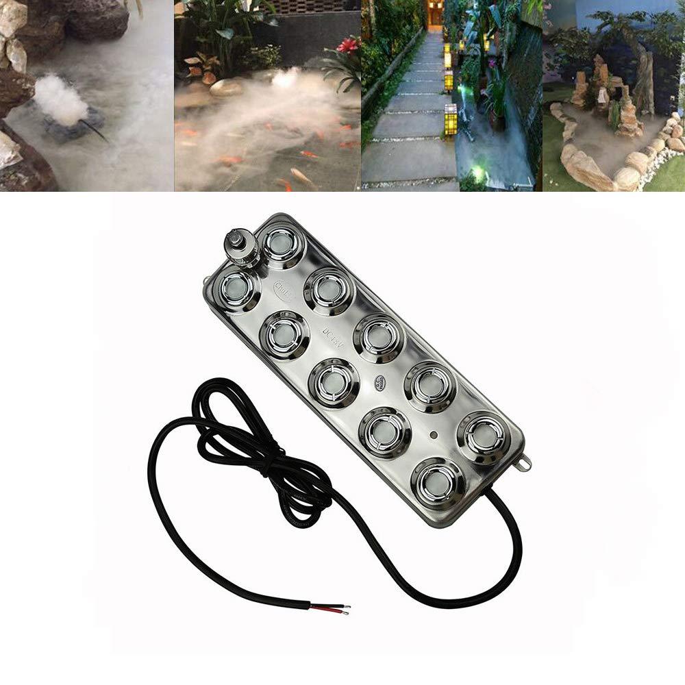 Industrial 10 Head Ultrasonic Mist Maker Fogger Air Humidifier Fountain Pond Atomizer