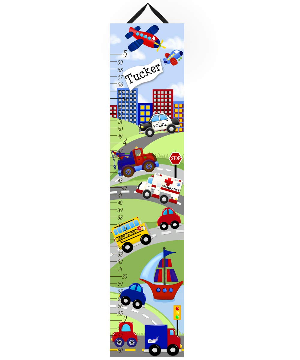 Toad and Lily Canvas GROWTH CHART Transportation Rescue Vehicles Cars Trucks Boys Bedroom Kids Baby Nursery Wall Art Personalized Growth Chart GC0085 by Toad and Lily