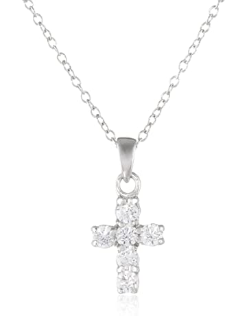 85c915a9b609d Sterling Silver Swarovski Zirconia Delicate Cross Pendant Necklace