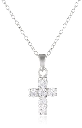 b93b78aa78 Sterling Silver Cross Pendant Necklace set with Swarovski Zirconia (.3  cttw), 18.5""