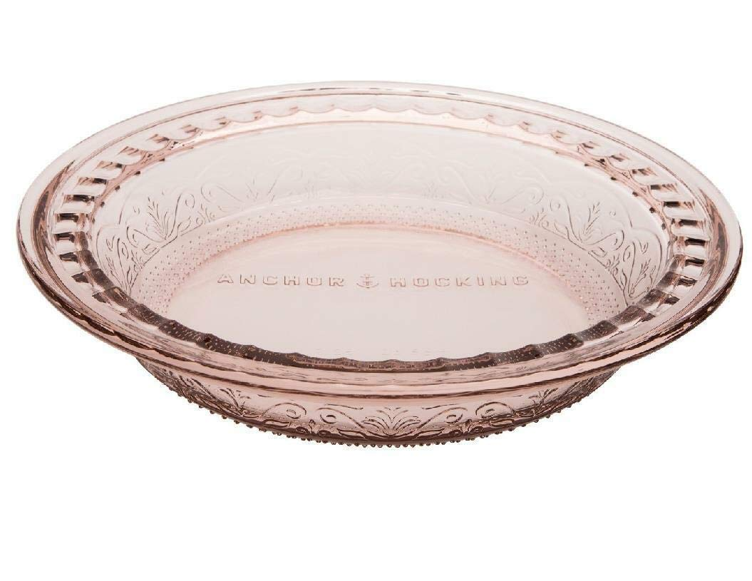"""Anchor Hocking Pie Plate - 9.5"""" - Glass - Deep - Wide Rim - Embossed - Ros"""