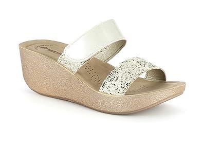 1c94de7bb Women Ladies Glittery Double Strap Velcro Casual Comfort Slip On Mid Wedge  Heel Sliders Gold Sandals Shoes Size 8  Amazon.co.uk  Shoes   Bags