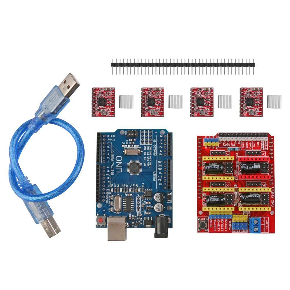 CNC Shield V3 3D Drucker Erweiterungskarte + 4pcs A4988 Driver + UNO R3 + USB-Kabel - Asiproper