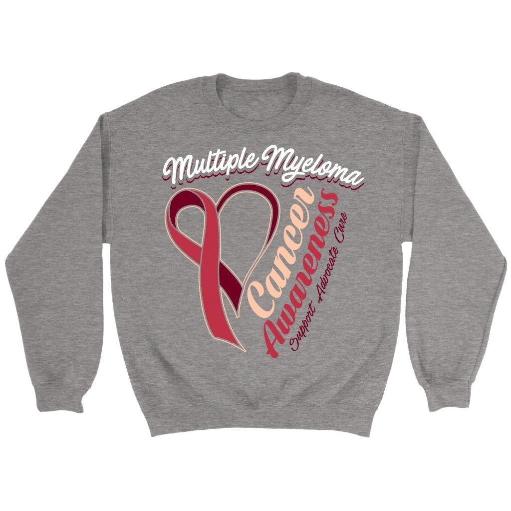 JoyHip.com Multiple Myeloma Cancer Awareness Burgundy Ribbon Support Advocate Cure Unisex Crewneck Sweatshirt