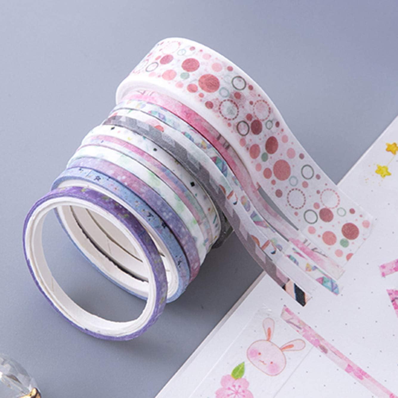 None Size 100卷细袋装72689 kula Excellent 100 Rolls Washi Tape Set Foil Gold Skinny Decorative Masking Washi Tapes 1-5Mm Wide DIY Masking Tape