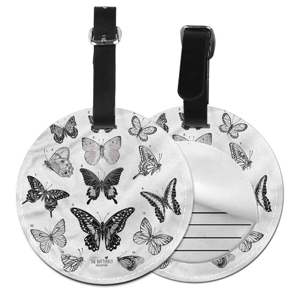 Id Tag Suitcase Carry Butterfly,Flower Dots Artful Travel Luggage Label