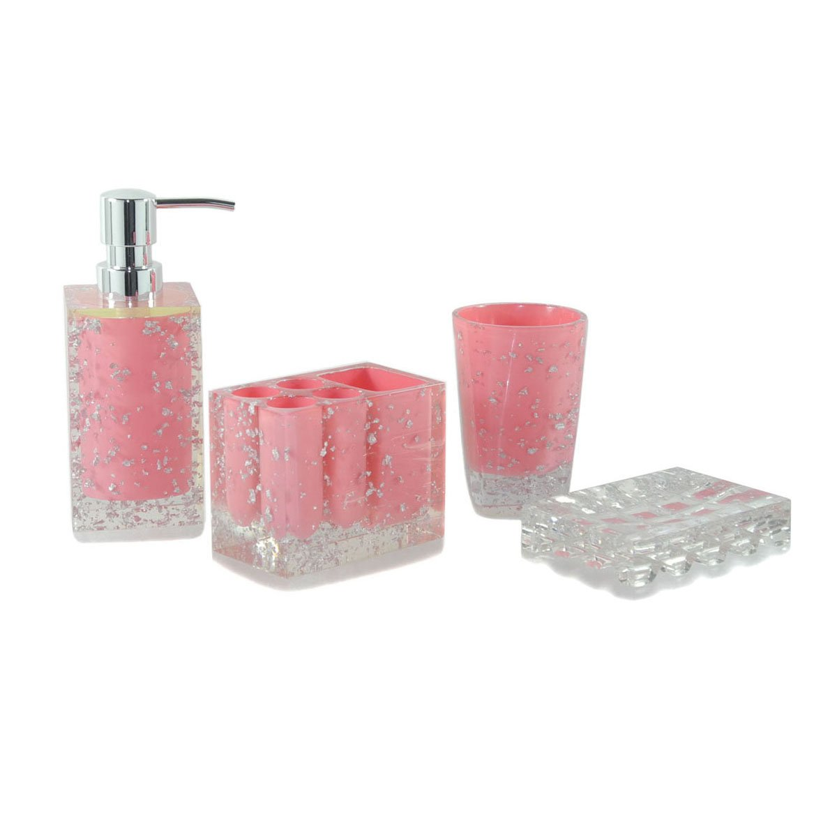 Dream Bath Pink Memories Bath Ensemble 4 Piece Bathroom Accessories Set  Luxury Bath Accessory Bath Set Soap Dispenser/Toothbrush  Holder/Tumbler/Soap Dish: ...