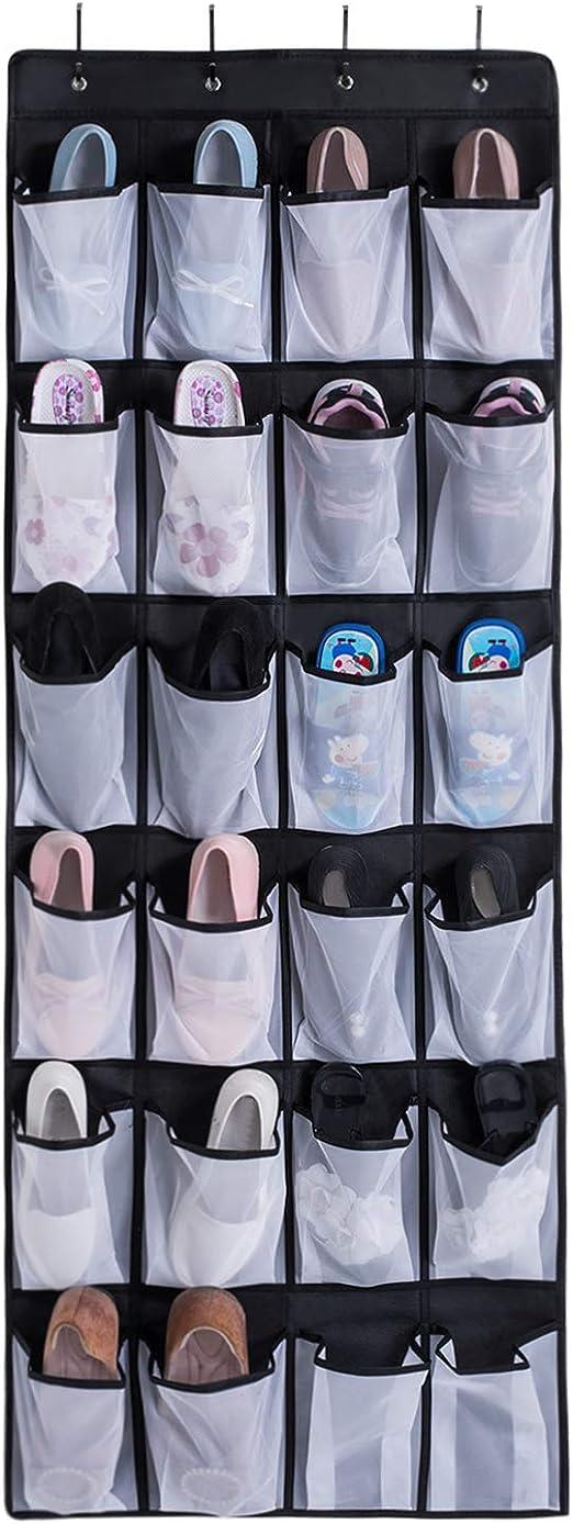 Schuhhalter mit 24 Taschen und 8 T/ürhaken f/ür K/üche Schlafzimmer Schwarz InnoGear 2 St/ück /über der T/ür h/ängend Schuh-Organizer Badezimmer