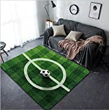 Vanfan Design Home Decorative Soccer ball ( d illustration) on real Grass field image Modern Non-Slip Doormats Carpet for Living Dining Room Bedroom Hallway Office Easy Clean Footcloth
