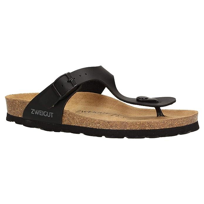 Zweigut® Hamburg luftig #553 Sandale Damen Pantolette Leder Komfort Soft Fußbett Sommer Schuhe 3er Riemen