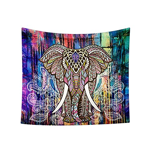 Colored Tapestry (Indian Boho Elephant Tapestry Colored Printed Decorative Mandala Tapestry (M))