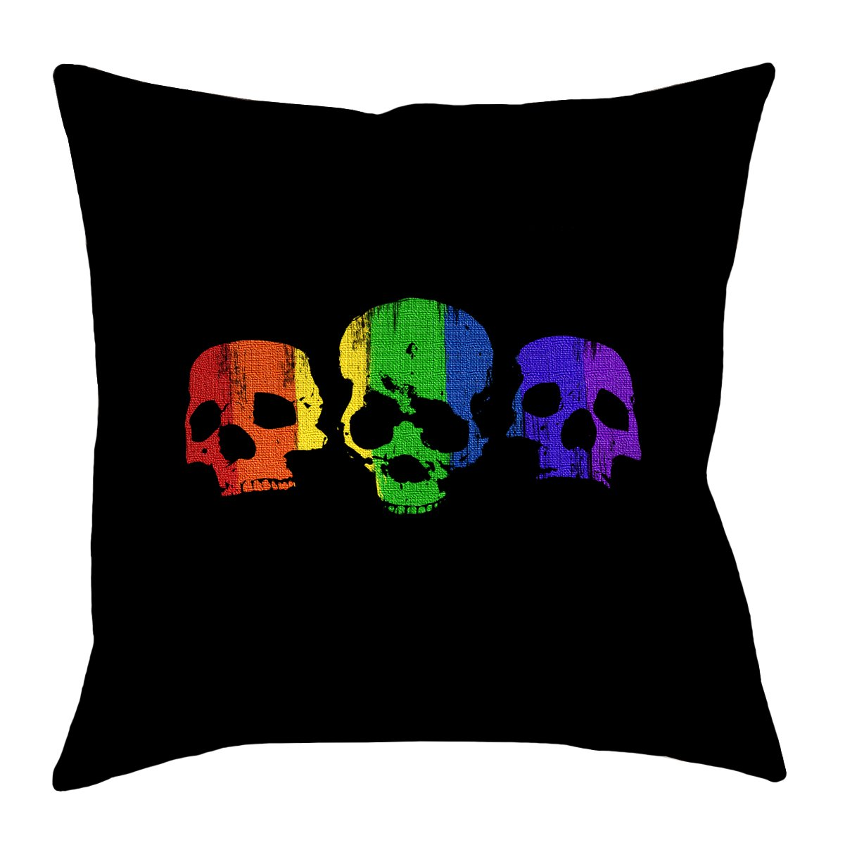 Artverse Katelyn Smith 26 X 26 Spun Polyester Double Sided Print With Concealed Zipper Insert Rainbow Skulls Pillow