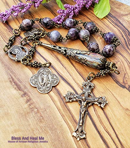 Sacred heart St Raphael Perpetual help Charoite Purple Agate Bronze One Decade Antique Style Rosary Chaplet Joy Love Happiness Protection ()