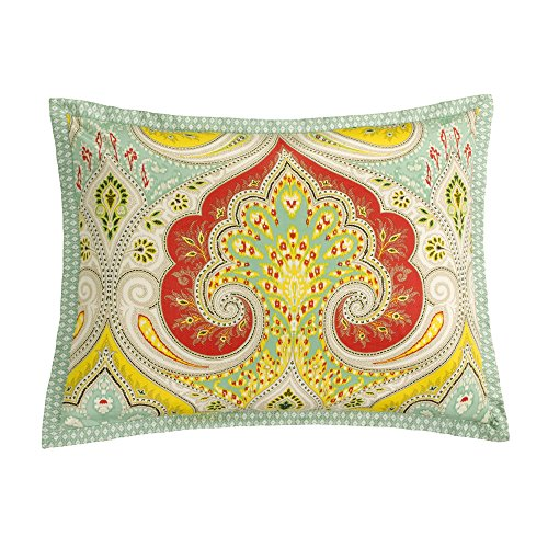 Echo Design Jaipur Teen Girls Duvet Cover Set Twin Size - Aqua, Yellow, Red, Bohemian Paisley Damask – 3 Piece Duvet Covers Bedding Sets – 100% Cotton Girls Bedding Bed Sets
