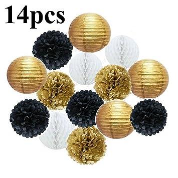 14 PCS Decorativo Pompones de papel Lampara de papel Bolas ...