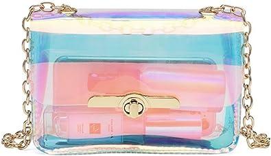 Holographic Message Bags Women S Clear Chain Shoulder Bag Cross Body Bag Handbags Amazon Com