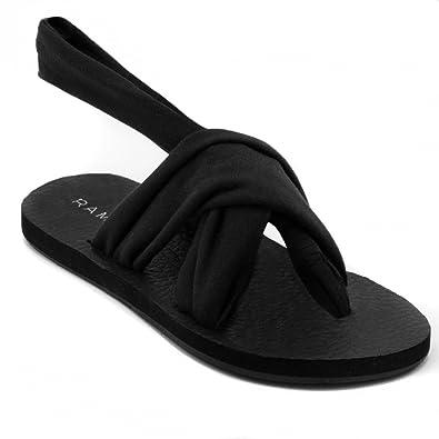 59087440e576aa Rampage Womens Rio Slingback Yoga Mat Sandal 6 Black