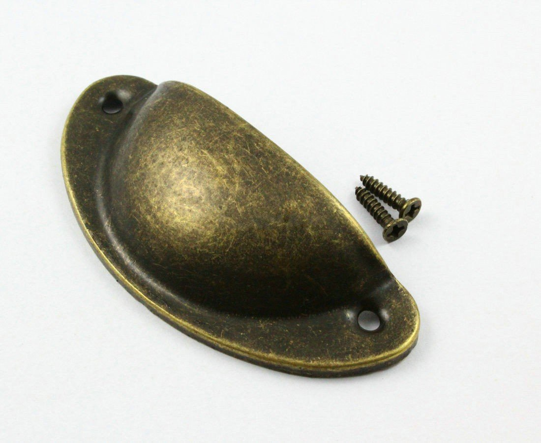 CHENGYIDA 10 Antique Brass Furniture Handle Cabinet Knob Drawer Shell Pull 82x35mm With Screws
