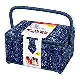 SINGER Ombre Ornamental Sewing Basket with Notions, Blue