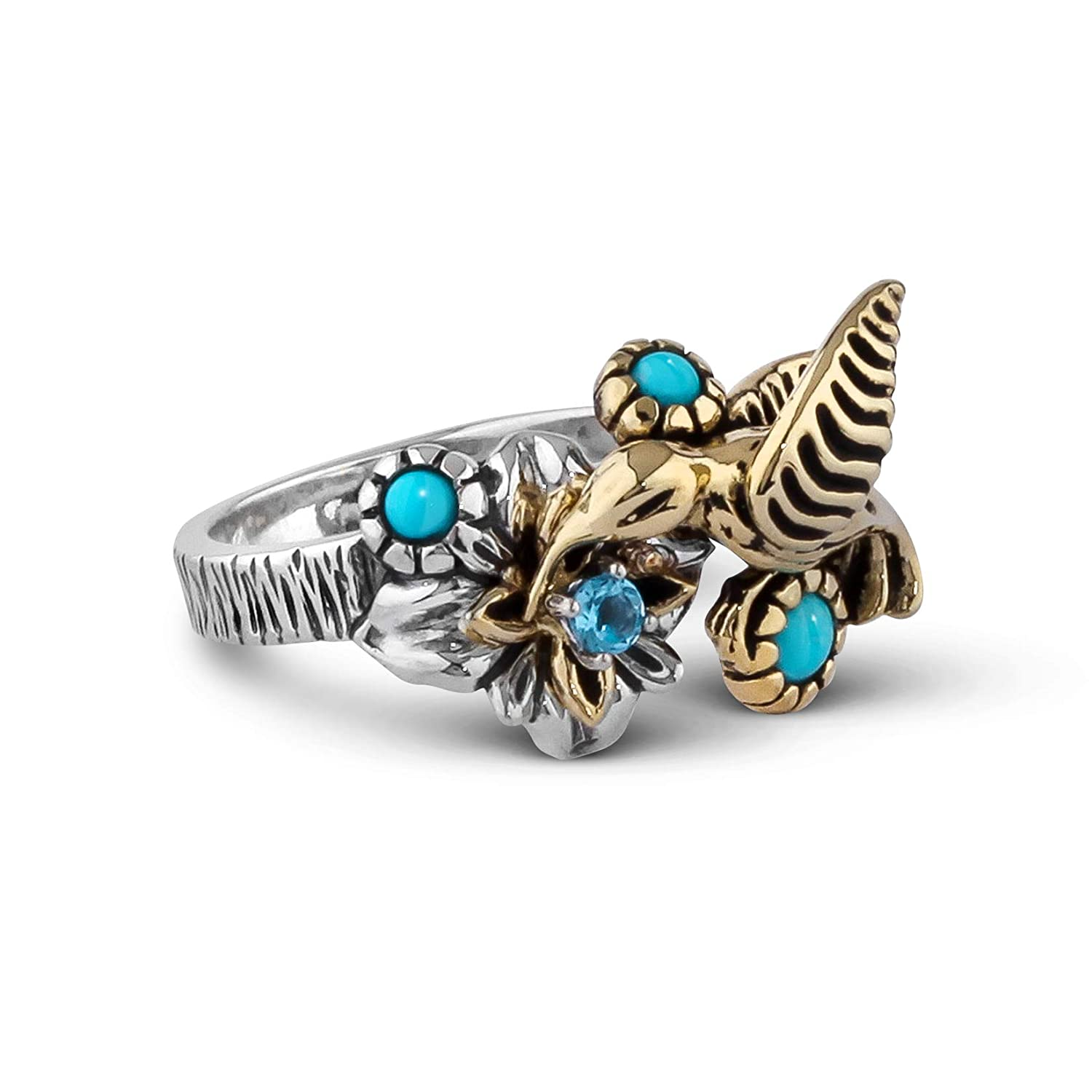 Sterling Silver & Mixed Metal Sz 5 thru 10 Fritz Casuse Turquoise Blue  Topaz Hummingbird Ring