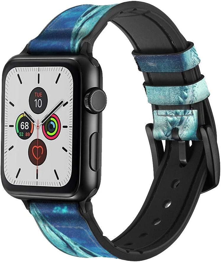 CA0831 Tiger Shark Leather & Silicone Smart Watch Band Strap for Apple Watch iWatch Size 42mm/44mm