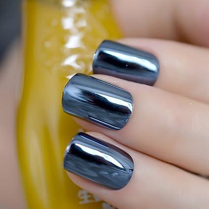 EchiQ - Espejo reflectante azul gris metal chapado falsas uñas postizas azul marino acrílico metálico cuadrado