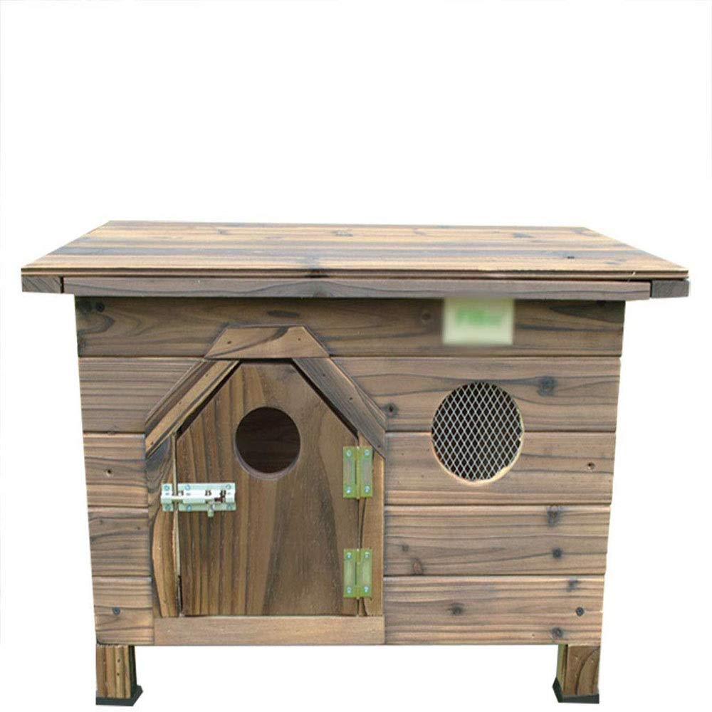 JTKDL Dog Crate Kennel Cage Bed Night Stand End Table Wood Furniture Cave House Room House Carbonized Wood Outdoor Indoor Flat Top Wooden Doghouse Dog House