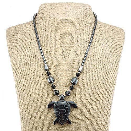 Large Turtle Pendant - Large Hematite Sea Turtle Pendant on Hematite Beaded Necklace
