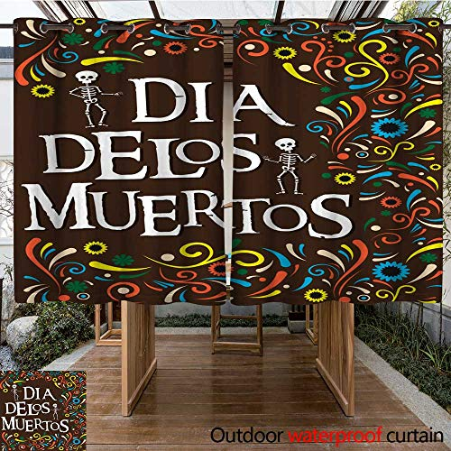 RenteriaDecor Outdoor Curtain for Patio Mexico Day of The Dead W55 x L72 ()