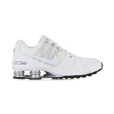 new style bbe52 a2d75 ... coupon code for nike mens shox avenue running shoes white metallic  silver black 8 d 010b0