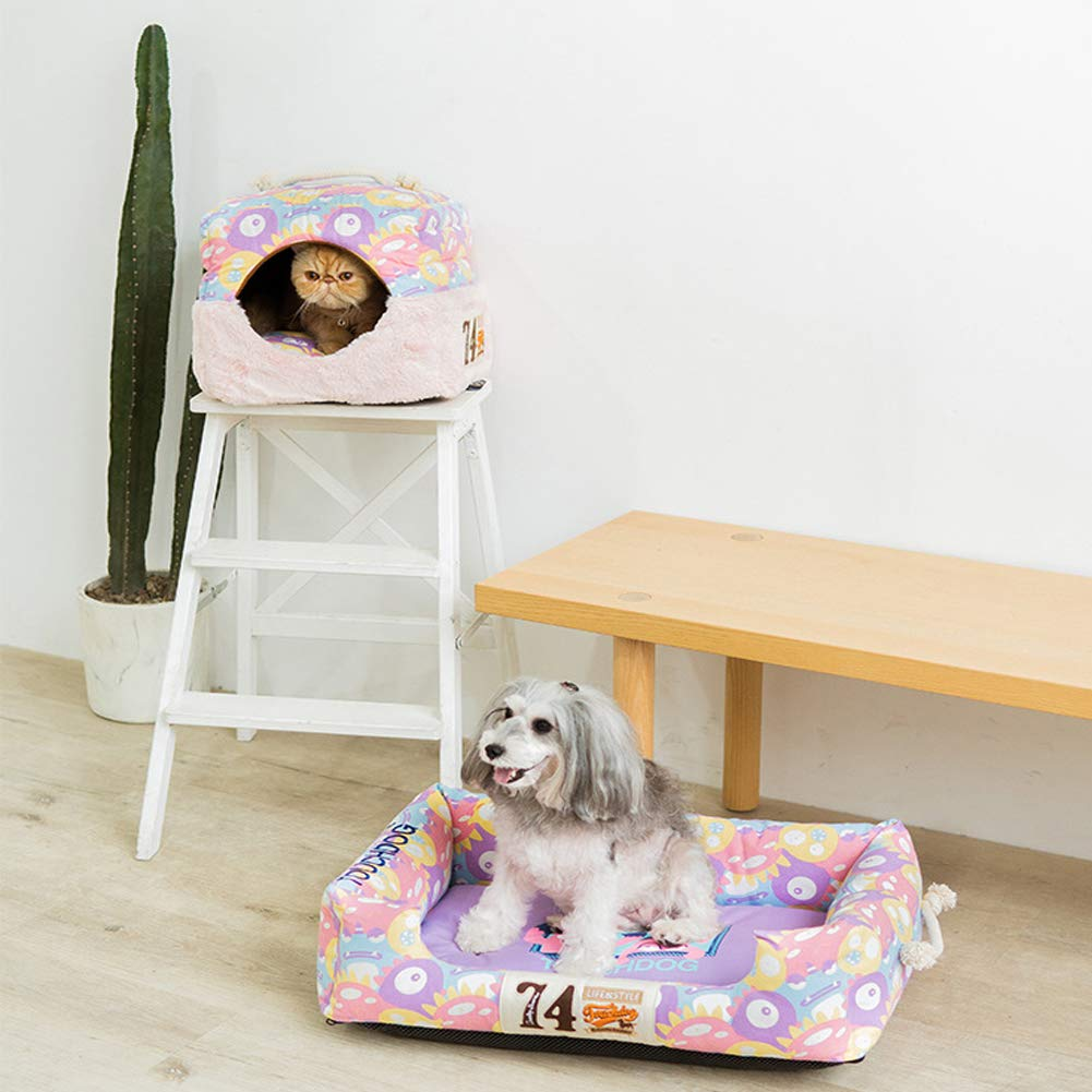 LYKH Pet Supplies deep Sleep and Winter Kennel Removable Washable mat cat Litter cat Mattress-lightpink-M by LYKH