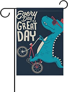 ColourLife Seasonal Holiday Garden Yard Home Flag Banner 28 x 40 inches Decorative Flag for Home Indoor Outdoor Decor Cute Dinosaur On Bicycle