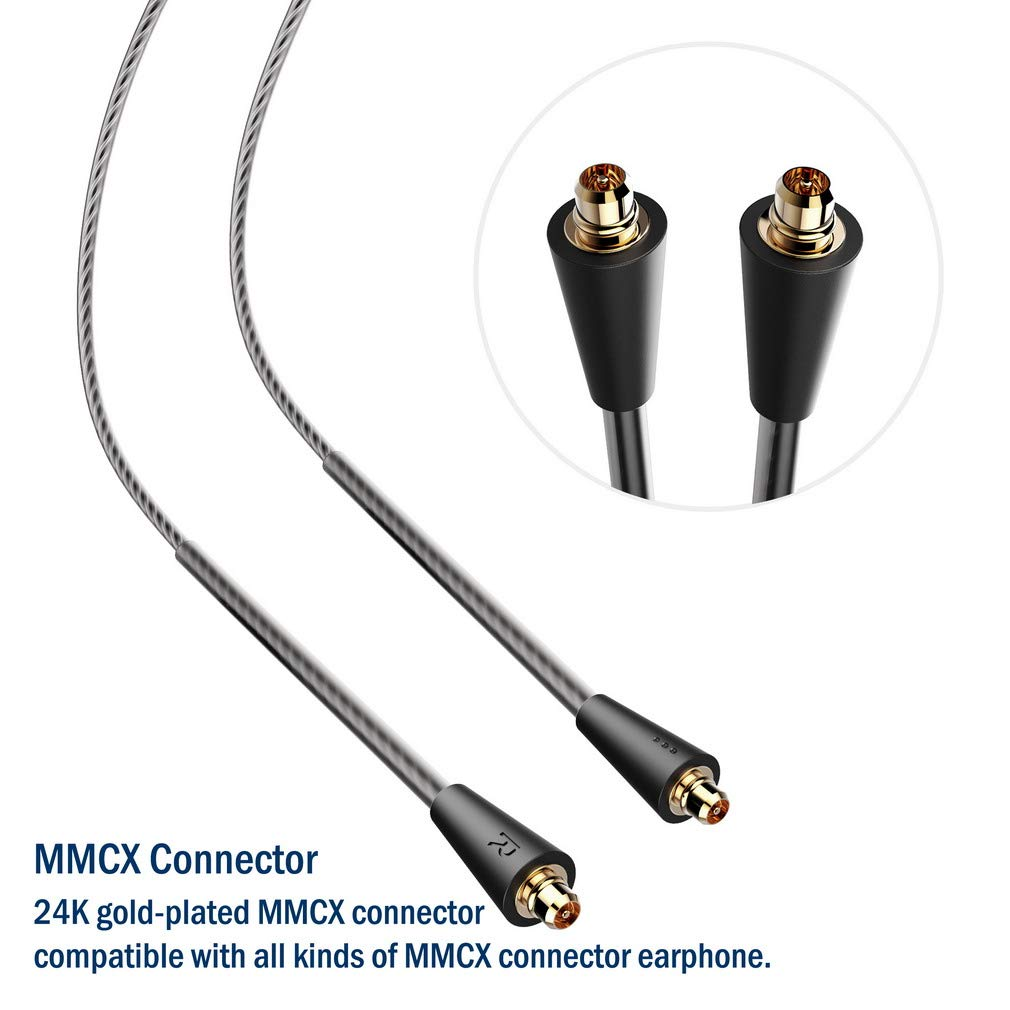 Amazon.com: TENNMAK MMCX Detachable Cable for TENNMAK PRO Piano Trio & Other MMCX Earphones- Transparent Black (no mic): Home Audio & Theater