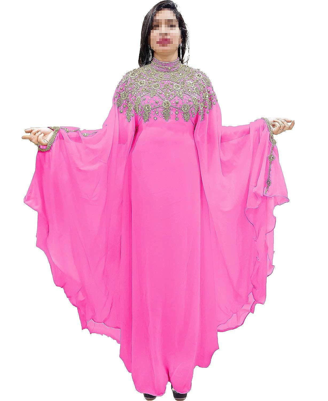 Baby Pink African Boutique Dubai Kaftan Abaya Jalabiya Maxi Gown Hand Work golden Beaded African Dress