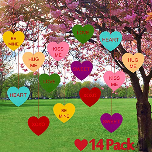 Whaline Yard Sign Outdoor Lawn Decoration, 14 Pcs Hanging Candy Heart Felt Garland for Indoor Window Outdoor Lawn Valentine¡¯s Day Decoration Wedding and Party Supplies