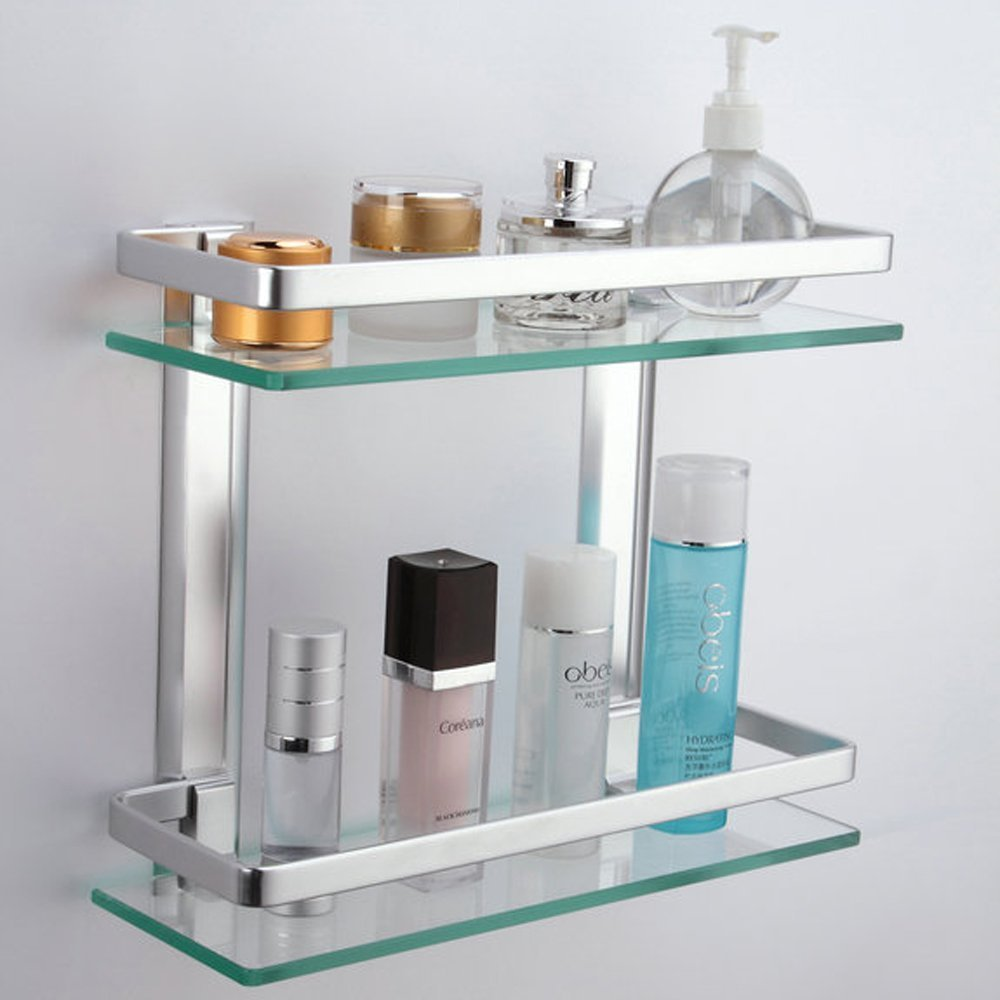 Kes aluminum bathroom glass rectangular shelf wall mounted for Bathroom glass shelves