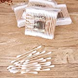 MUZUO Wooden Stick Cotton Swabs (1000 Count) - Double Tipped With Finest Quality Cotton Heads That Do Not Unravel - Sturdy Handle - Multipurpose, Safe, Highly Absorbent & Hygienic