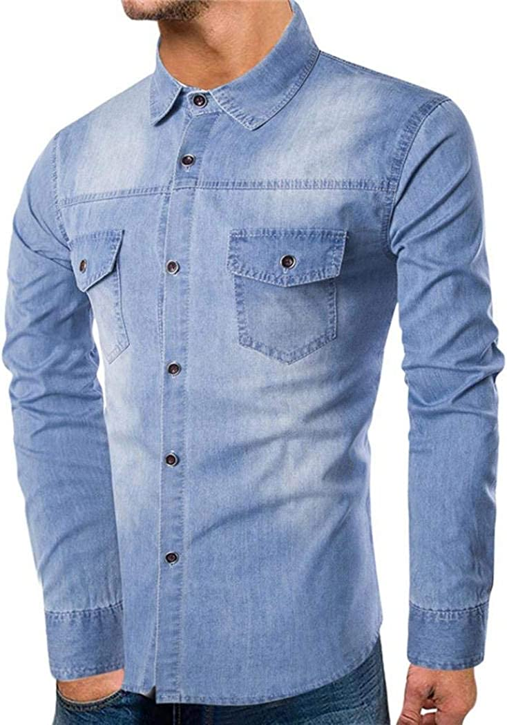 Personality Men Autumn Casual Slim Long Sleeve Pocket Denim Male Shirt Top Blouse