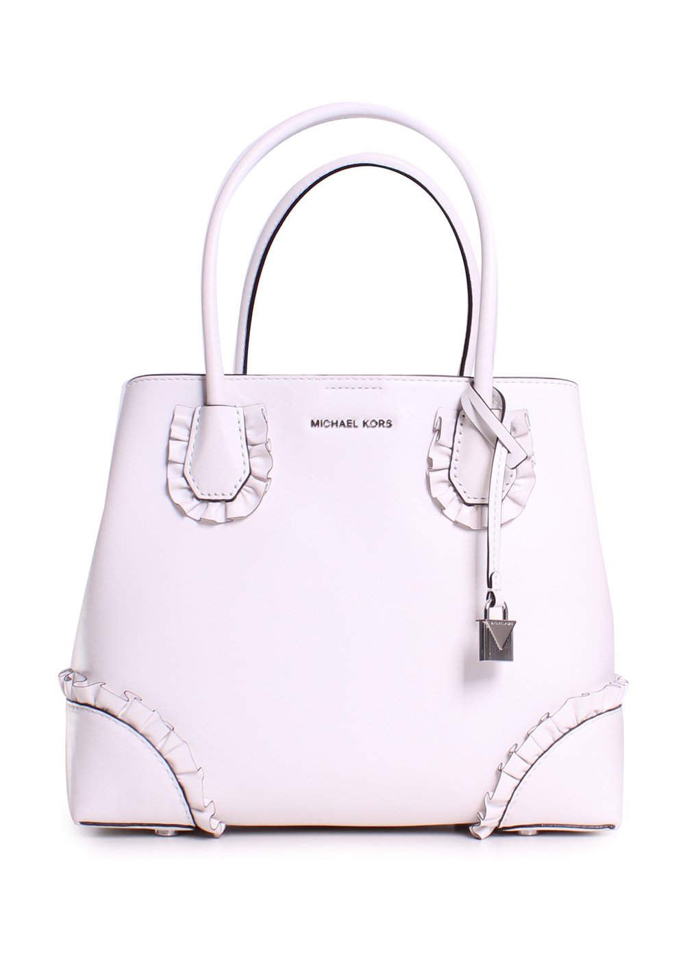 Michael Michael Kors Mercer Gallery Leather Ruffle Trim Medium Center Zip Tote Handbag in Optic White