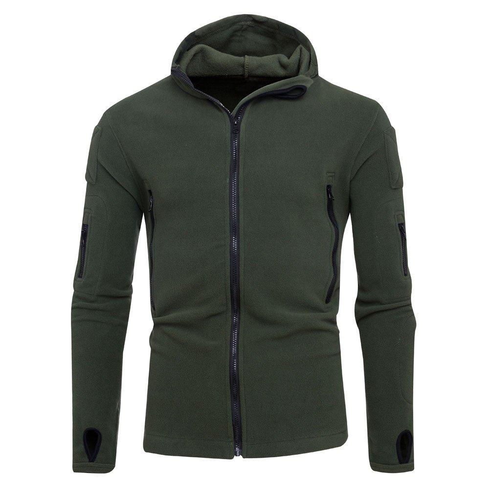 Mens Overcoat for Mens Winter Zipper Hoodie Hooded Sweatshirt Coat,Outdoor Coat