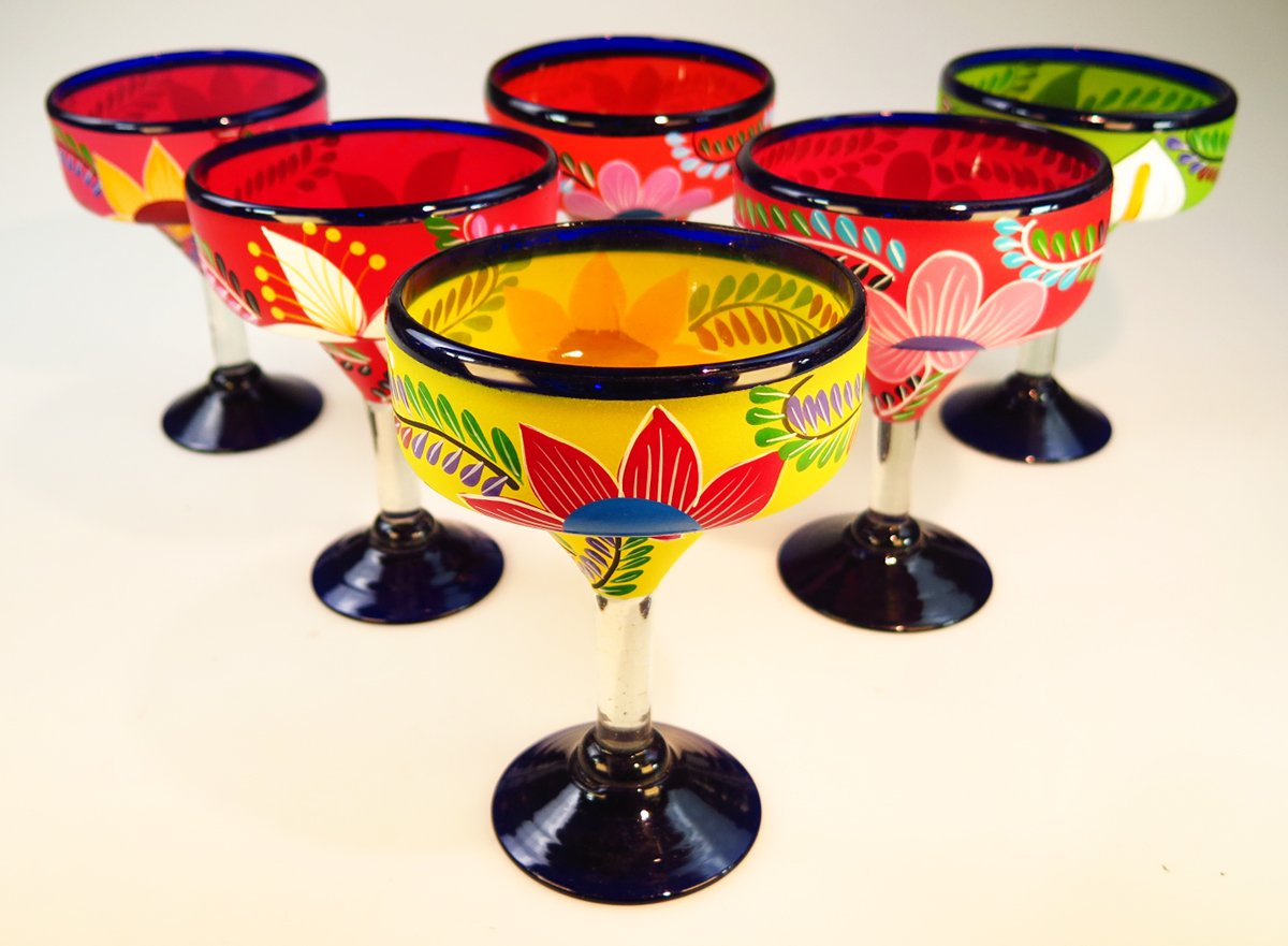 Mexican Glass Margarita Hand Painted Flowers, Mixed, 14 Oz, Set of 6 by Mexican Margarita Glasses