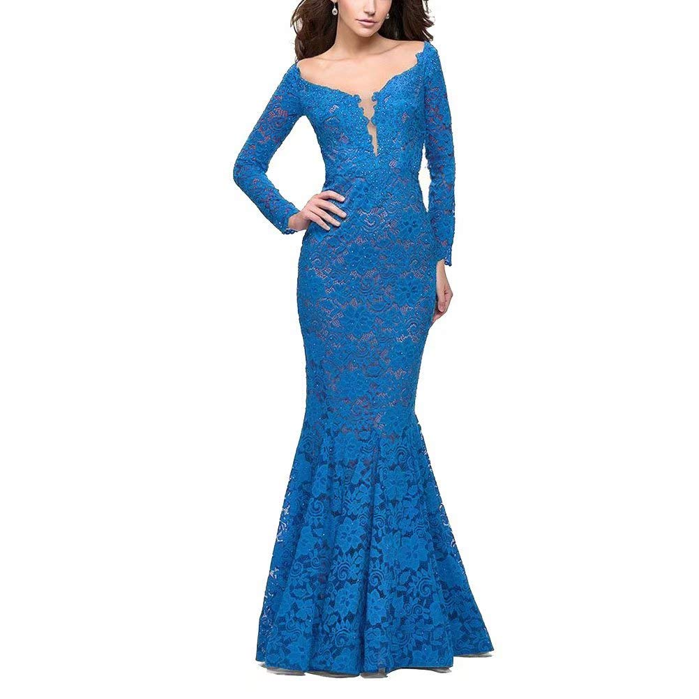 bluee Unions Women V Neck Lace Mermaid Prom Dresses Long Sleeve Beaded Formal Evening Gowns