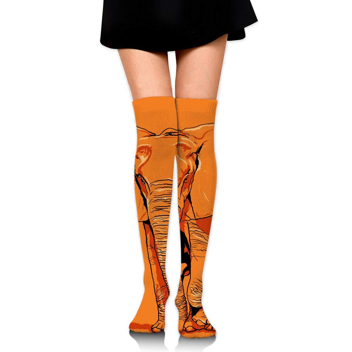 High Elasticity Girl Cotton Knee High Socks Uniform Orange Elephant Women Tube Socks